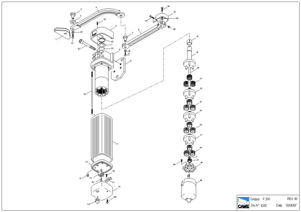 Электро приводы ворот CAME серии FLEX F200 - чертеж сборочный.  57 Kb.